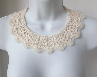 White Crochet Lace Collar White Collar