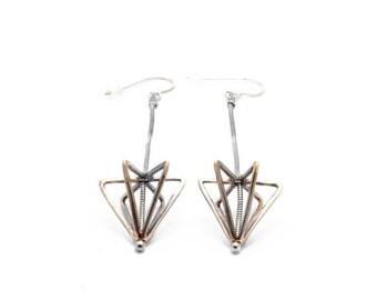 30% OFF// long framed cone earrings - bronze