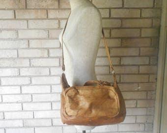 Vintage Tan Distressed Leather Cartridge Camera Crossbody Satchel Bag Purse
