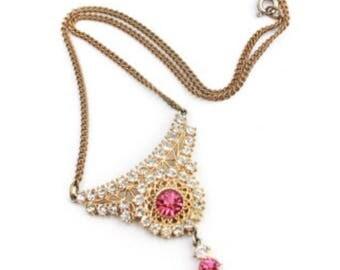 Pink Glass Necklace, Bib, Art Deco 1940s, Vintage Jewelry SPRING SALE