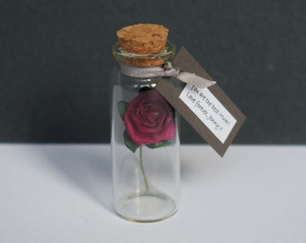 Miniature Paper Tea Rose - mother's day rose gift - rose gift -  anniversary card - grandmother gift - mom gift - gift for her - mom card