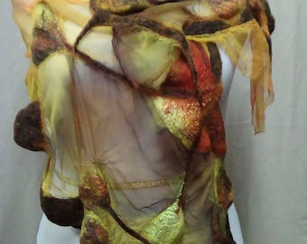 Merino wool wet felted scarf, made in usa nuno felted scarf, eco friendly lightweight and handmade fashion scarf in yellow, felted shawl
