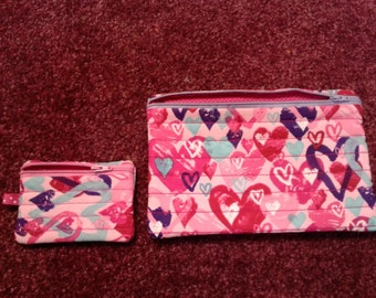 Quilted Hearts Clutch bag with matching card holder - Ready to ship