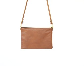 Minimalist LEATHER bag - IONA - Brown leather crossbody shoulder purse clutch with adjustable leather strap