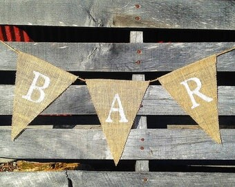 Rustic Bar Burlap Banner, Bar Garland, Burlap Garland, Bar Decor,  Wedding Bar Sign, Rustic Bar