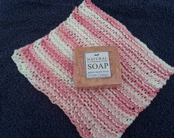 Mother's Day, gifts for her, organic soap and knit cotton washcloth, organic gift sets, shower gifts, graduation gifts, ROSIE OATMEAL soap