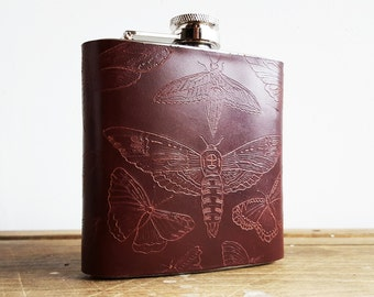 Lepidopterist Leather Hip Flask, Moth and Butterfly gift, Entomology illustration, oxblood leather flask, custom illustration hip flask
