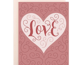 Blank LOVE Hand Lettered Heart Card for Boyfriend, Girlfriend, Valentine, Romantic Card