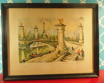 Framed Paris Lithograph Signed Marius Girard Eiffel Tower Le Port Alexander Vintage 1960s