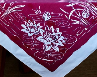 Vintage Linen Tablecloth Mastercraft Burgundy Merlot White Water Lilies Cat Tails Printed AS IS