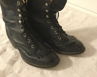 Vintage  Leather Laredo Roper Boots,Kilties,Black Laceup Womans 6 M,