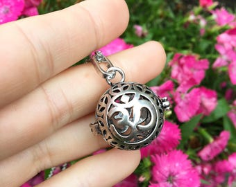 GROUNDED om stainless steal diffuser locket for essential oils yoga jewelry yogi