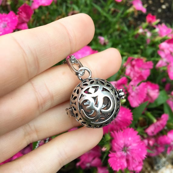sale GROUNDED om stainless steal diffuser locket for essential oils yoga jewelry yogi