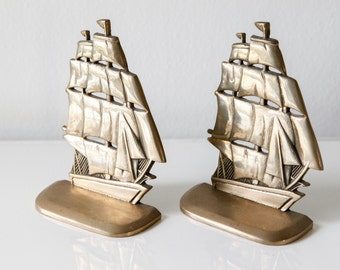 Pair of Vintage Brass Ship Bookends