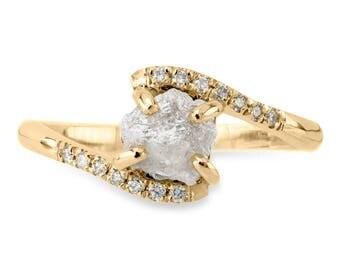 1.3 Carat Rough Diamond Ava Setting, 14k Yellow Gold