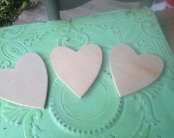 Set of Three Small Unfinished Wood Hearts, Unpainted Wood Hearts, Wood Crafting Supplies, Wood Shapes