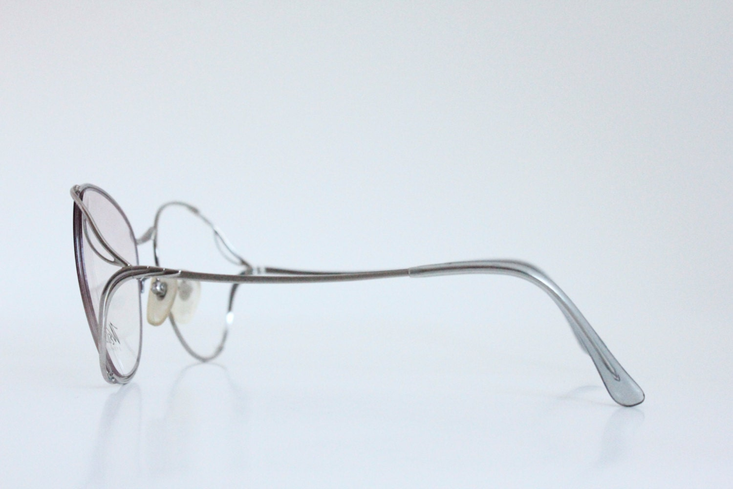 vintage 80s silver drop arm wire eyeglasses frames - Wire Eyeglass Frames