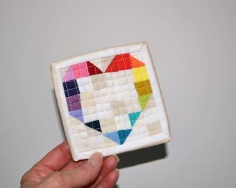 Mini Quilt, Rainbow Quilt, Mini Mini Quilt, Fiber Art, Rainbow Heart Quilt, Rainbow