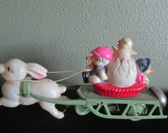 Wind-up Celluloid Easter Bunny with Ducks and Chicks Made in Japan