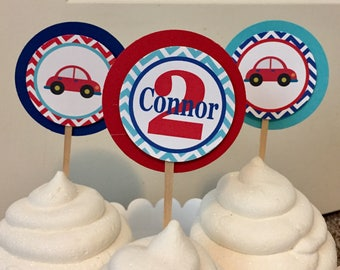 LITTLE CAR Happy Birthday or Baby Shower Cupcake Toppers (12) 1 Dozen - Party Packs Available