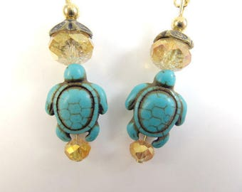 Clearance - Turquoise sea turtle earrings