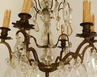 French Vintage Chandelier...Large Treble Tier Drops....Paris Apartment...Chateau Chic....Frou Frou