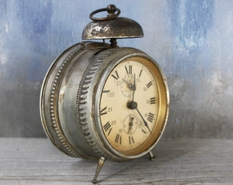 Antique French Alarm Clock....Nordic Living Home Decor...Shabby Chic...