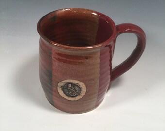 Mug -  handmade ceramic Coffee mug - 16 ounce - Ready to Ship - Red Jasper  - gecko lizard Stamp  - ceramics - pottery - stoneware