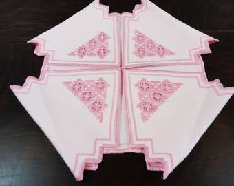 Pink Hardanger Hand Made Bun Basket Liner    Norwegian Embroidery