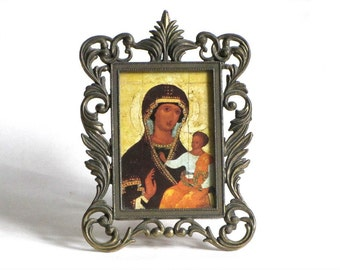 Vintage Byzantine Madonna and Child Ornate Gilt Scrolled Metal Frame Made In Italy Easel or Wall Religious Art