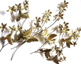 Golden Metal Hummingbirds Butterflies and Flowers Wall Art Spray Trio Copper Color Accent Jere Style Retro Wall Hangings