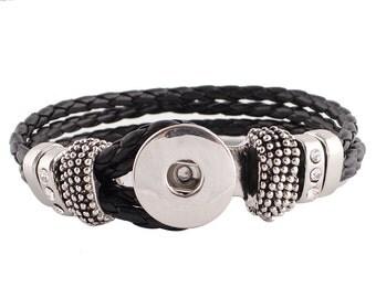 """1 Black Leather Bracelet - 7.5"""" FITS 18MM Snap Charm KC0020 Cj0676"""