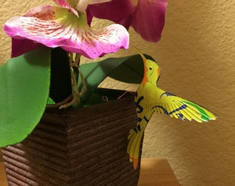 Flower pot hummingbird ornament made from recycled La Croix cans-Wedding Decor-Floral Arrangement-Upcycled Soda Can