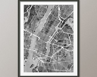 New York City Street Map USA, Map of NYC, Art Print (2489)