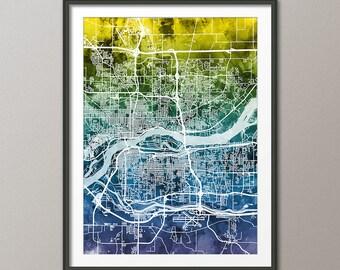 Quad Cities Map, Davenport, Bettendorf, Rock Island, Moline, Art Print (2510)