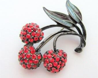 Cherry Brooch - Red Rhinestones -Japanned Black Metal Finish - Fruit Pin
