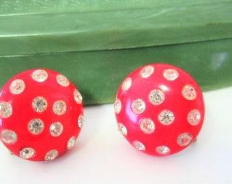 Red Celluloid Earrings - Covered in Clear Rhinestones - 50's Earrings - Screw Back Earrings