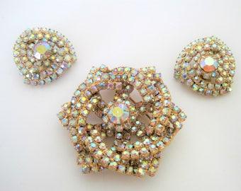 Aurora Borealis Brooch Earrings -  Rhinestone Encrusted - Set in Gold Tone - Stunning Set