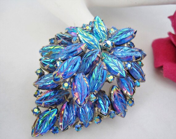 Blue Glass Cabachon Brooch - Feathery Iridescent Rhinestones - Dome Molded Layered Pin