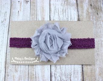 75% OFF Ready to Ship/ Newborn Gray and Plum Lace Headband/ Baby Headband/ Flower Girl Headband