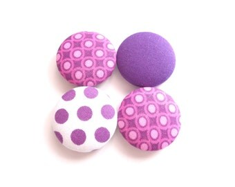 Fridge Magnets, Button Magnets, Purple Magnets, Refrigerator Magnets, Fabric Buttons, Handmade Magnets, Polka Dot Magnets, Cute Magnets