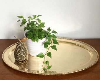 Vintage Brass Tray Bamboo Trim Gold Metal Oval Serving Decorative Tray Preppy Coastal Chic Decor