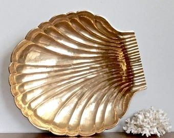 Large Vintage Solid Brass Clamshell Footed Dish Gold Shell Dish Tray Nautical Coastal Hamptons Decor