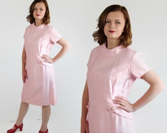 On Sale 60s Dress Mad Men Pink Vintage Wedding Rhinestone Buttons Party Dress