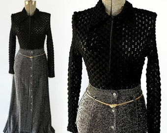 40%OFFSALE 70s Metallic Maxi Skirt Black Bubble Crochet Blouse Set
