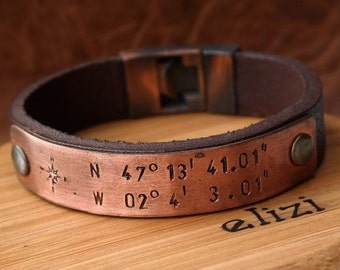 Personalized Gift for men Leather Bracelet Leather Man Bracelet Mens Anniversary Gift for Husband Mens Leather Bracelet