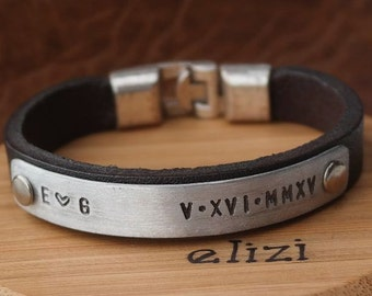 EXPRESS SHIPPING.Personalized Leather Bracelet. Personalized Mens Bracelet. Mens Leather Bracelet. Gift for Dad. Father's Day gifts