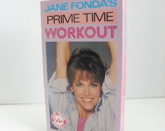Jane Fonda Prime Time Workout Exercise VHS Video Tape Box Cover Pre-owned