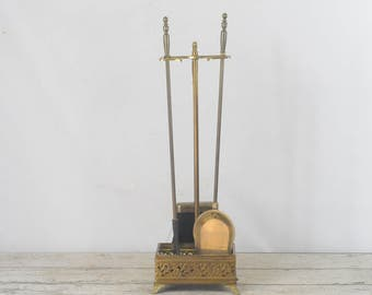 """Vintage Brass Plated Iron Fireplace Tools 27"""" Stand Broom Poker Shovel"""