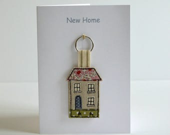 New Home Card with House Key ring / Keyfob, moving home card, new house card, housewarming card, house warming gift, moving house card